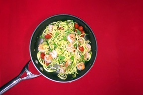 Zoodles with Shrimp and Roasted Cherry Tomatoes